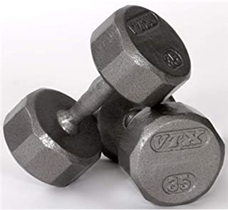 Troy Barbell VTX 12 Sided Gray Hex Dumbbell with Steel Contoured Handle - Sold Each
