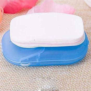 DYSCN Feuilles de savon en papier portables avec savon de nettoyage de boîte pour laver le bain des mains Articles de toilette Voyage Camping Randonnée Pratique et facile à utiliser, Bleu