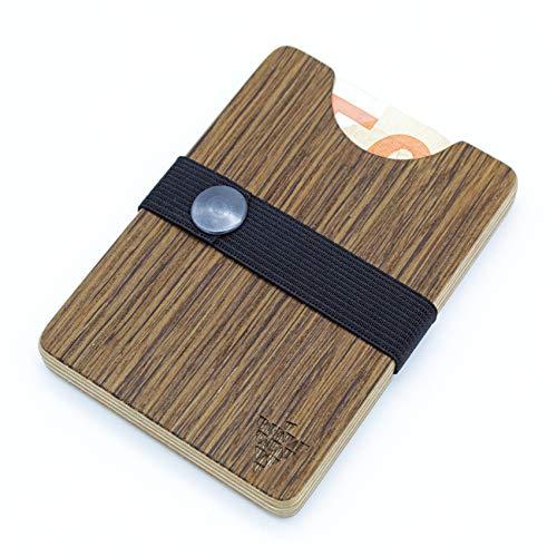 Hochwertiges Portemonnaie aus Holz - Eiche Choco - Holzgeldbeutel Wallet Brieftasche Portmonee Holzgeldbörse Handgemachtes UNIKAT stylisches Geschenk für Mann + Frau Made in Germany Südpfalz
