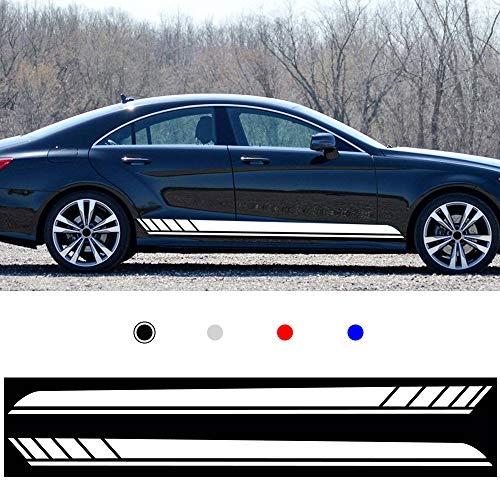 Cobear Auto Seitenstreifen Seitenaufkleber Aufkleber für E90 E60 A4 B8 A5 Rennstreifen Racing Decals Viperstreifen Weiß 2 Stück