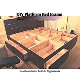 DIY Platform Bed Frame : Headboard with Built-In Nightstands