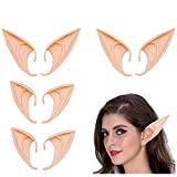 4 Pairs Cosplay Fairy Pixie Elf Ears Elven Ears, Soft Pointed Ears Tips Cosplay Costumes Fairy Goblin Vampire Elven Ears Accessories Anime Cosplay for Halloween Party Props Pointed Prosthetic Tips