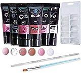 Anself 6PCS 15ML Gel de uñas de secado rápido + 100Pcs Nail Art Tips Mold + 1PC Therapy Pen + 1PC Nail Cuticle Pusher + 1PC Transparent Clip, UV Gel Builder Set