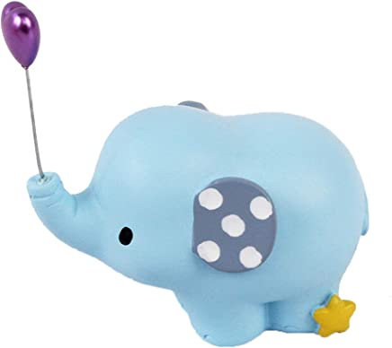 LIOOBO Resin Cake Figurine Elephant Balloon Statue Ornament Cake Decoration Cupcake Topper for Baby Shower Birthday Wedding Party Decor (Blue)