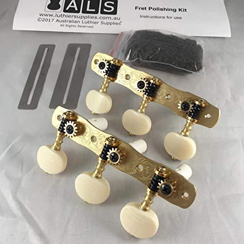 Gotoh Mechaniken für Klassikgitarre (Bonus ALS Bundpolier-Set) 35G1800-2M Modell Tuner von Gotoh Japan massives Messing mit elfenbeinfarbenen Knöpfen – Bünden-Polierset von Australian Luthier Supplies