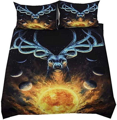 Juego de ropa de cama 3D con diseño de lobo y león y funda de almohada, funda de edredón con funda de almohada, ropa de cama infantil para niños