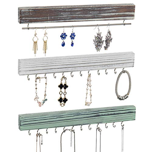 MyGift 24-Hook Wall Mounted Rustic Wood & Metal Jewelry Organizer Racks with Hanging Bar for Earrings, Necklaces, and Bracelets, Set of 3