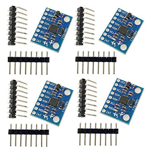 JZK 4 x GY-521 MPU-6050 6DOF Modulo giroscopio 3 Assi Standard accelerometro 3 Assi per progetti Raspberry Pi e Arduino