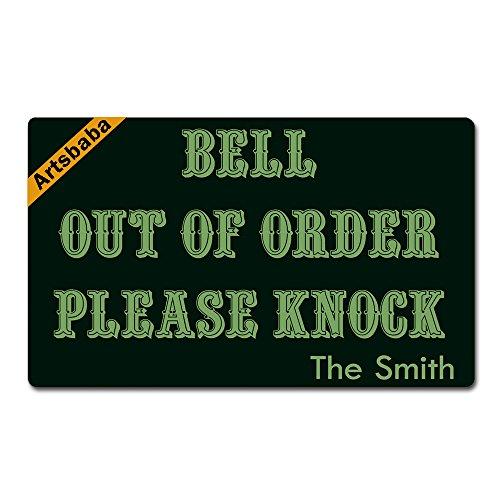 """Artsbaba Personalized Your Text Doormat Bell Out Order Please Knock Doormats Monogram Non-Slip Doormat Non-Woven Fabric Floor Mat Indoor Entrance Rug Decor Mat 30"""" x 18"""""""