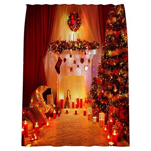 PRETYZOOM Christmas Shower Curtain Decor New Year Bath...