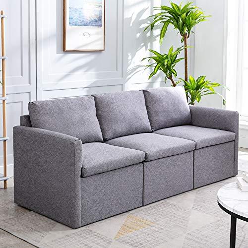Merax Sofa 3 Seater Sofa Bed Sofa Bed Upholstered Sofa Bed Love Seats Love Seat Modern Linen Fabric (Grey)