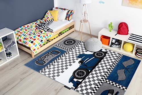 Kindertapijt Petit voor babykamers, Speel vloerkleden, Kinderkamer, Race Formule 1 Bolid Auto Blauw 200x290 cm