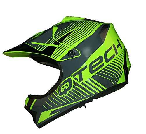 Qtech Kinder Motocross MX Helm MX BMX Quad ATV Motorradhelm Motorrad - Grün - M (55-56cm)