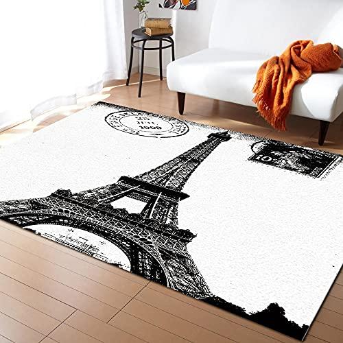 Alfombras Paris en Blanco y Negro para Dormitorio, hogar Moderno, Alfombra Grande para Sala de Estar para Ventana Mat-L