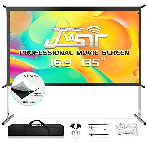 Projector Screen with Stand, Upgraded 3 Layers 135 inch 4K HD 16:9 Outdoor/Indoor Portable Front Projection Screen, Foldable Projection Screen with Carry Bag for Home Theater Backyard Movie