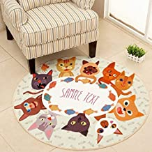 Round Cartoon Style Kids Carpets Anti-Skid Rugs for Bedroom/Bathroom Competer Chair Mats Cute Animals Rugs Bath Mat Washab...