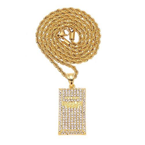 RENYZ.ZKHN In The Pendant Pendant In Full Stereo Shape Hip-Hop Clubbing Tide Products Dj,Golden 3Mm Steel Twist Chain
