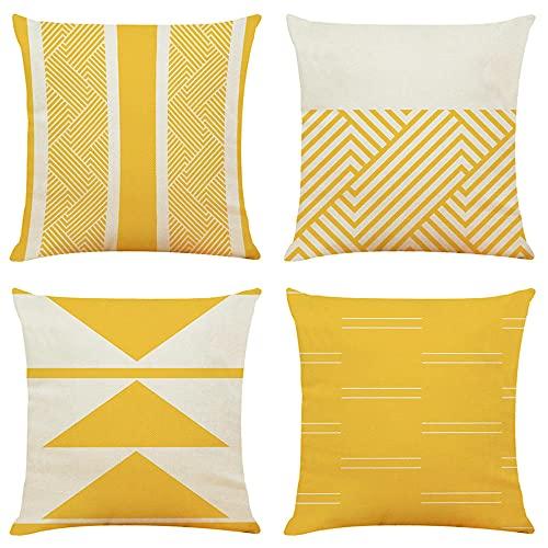 JKCloth Set de 4 Funda de Cojín 45x45cm, Amarillo Geométrico Funda de Almohada Cuadrado Lino para Sofá Cama Coche Decoración para Hogar