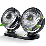 Nyo Car Fan, 5V Dual Head Car Fans with 3 Speeds and USB Plug, Quiet Auto Cooling Fan with 360 Degree Rotatable for Truck Vehicles Boat Van SUV RV, Portable Car Seat Fan Perfect for Office Car Study