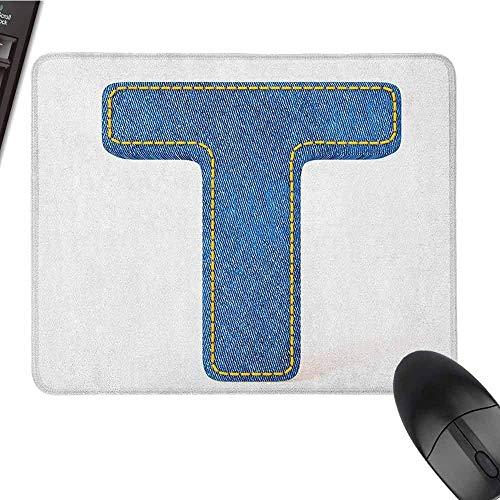 Letter T Extended Gaming Mouse Pad Alfabet Ontwerp met Denim Textuur Blauwe Jeans Steken Illustratie Print