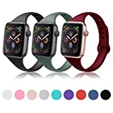 DYKEISS Sport Slim Silicone Band Compatible with Apple Watch 38mm 42mm 40mm 44mm, Thin Soft Narrow Replacement Strap Wristband for iWatch Series 1/2/3/4/5 (3p-Black/Pine Green/Wine Red, 38mm/40mm)