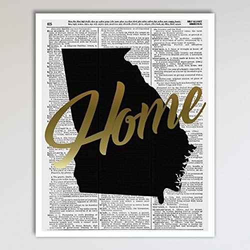 Georgia Home Gold Foil Art Print - Vintage Dictionary Reproduction Art Print