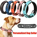 Personalized Dog Collar, Custom Dog Collar Engrave with Name Number Neoprene Padded Waterproof Leather Cat Collar for Small Large Dogs Navy Blue Large