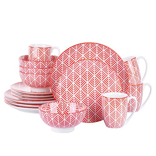vancasso Momoko Red Dinner Set, 16-Piece of Porcelain Combination Set with Dinner Plate, Dessert Plate, Cereal Bowl and Cup, Service for 4