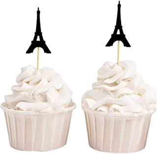 Darling Souvenir, Eiffel Tower Cupcake Toppers, Wedding Party Dessert Decorations - Pack Of 20