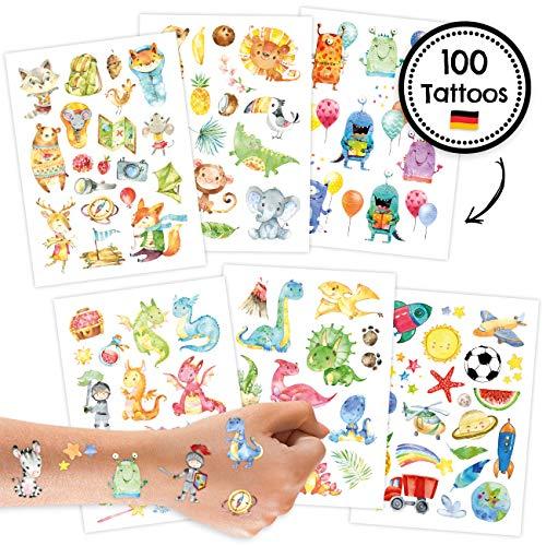 100 Tattoos für Kinder - Hautfreundliche Kindertattoos mit Dinosauriern, Monstern, Drachen, Waldtieren und weiteren kindgerechten Designs - als Geburtstagsmitgebsel oder Geschenkidee - für Jungen