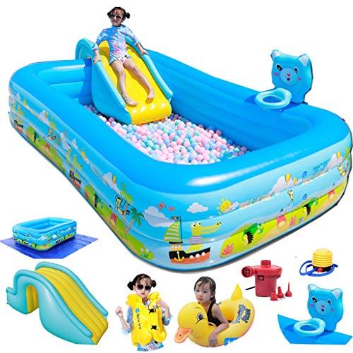 SPARROW Sobre piscina subterránea piscina inflable piscina con diapositivas y página de tiro para niños adultos juguetes cubren gran jardín aparcamiento gratuito piscina / alfombra bomba eléctrica (tamaño : 4.20m)