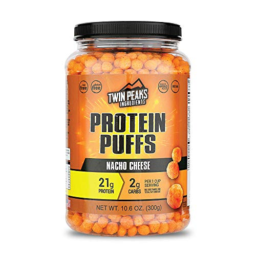 Twin Peaks Low Carb, Keto Friendly Protein Puffs, Nacho Cheese (300g, 21g Protein, 2g Carbs) from TPI Marketing, LLC