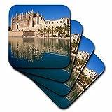 Danita Delimont–Catedrales–Vista de Moated Catedral, Palma de Mallorca, Mallorca, España.–Posavasos, caucho, set-of-4-Soft