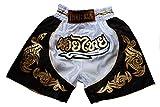 Nakarad Pantalones Cortos de Muay Thai para niños (2-10Años) Nuevos Modelos (XXS(2-3Años), Blanco)