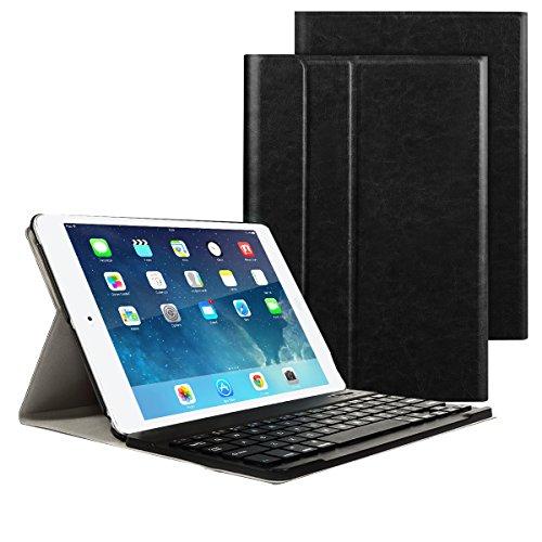 iPad 9.7 2017/2018 Funda de teclado, Besmall teclado inalámbrico Bluetooth con cuero de la PU cubierta Para Nuevo Apple iPad 9.7 Lanzado en 2017/2018, iPad Air 1/2, iPad Pro 9.7 - Negro