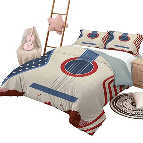 Daybed Quilt Set Music Custom Bedding Machine Washable Country Music Festival Event Illustration Guitar with American Flag Design Print King Size Cream Red Blue