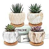 Hongyans 4 Piezas Macetas Pequeñas Cerámica Mini Macetas Suculentas Cactus, Tiestos para Plantas Ceramica con Bandeja de Bambú para Decoración Hogar Oficina Jardín Balcón (Jaspeado)