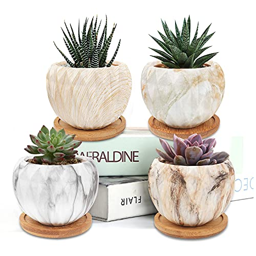 Hongyans 4 Pezzi Vasi Piccoli per Piante Grasse Vaso da Fiori in Ceramica Mini Vasi Cactus Vasetti Piante Grasse con Vassoio di Bambù per Decorazione Casa Giardino Balcone Ufficio (Marmorizzazione)