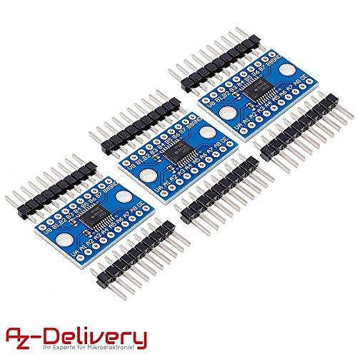AZDelivery 3 x TXS0108E Logic Level Convertidor 8 Canales para Ardunio y Raspberry Pi con ebook Gratis!