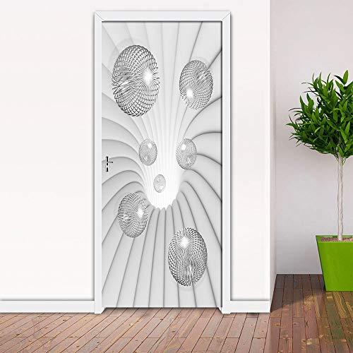 DFKJ 3D Demasiado Blanco Bola Pegatina Cartel Sala de Estar Estudio decoración Puerta Pegatina Autoadhesivo Papel Pintado Impermeable A1 77x200cm
