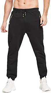Tansozer Mens Lightweight Joggers Sweatpants with Zipper Pockets and Elastic Bottom