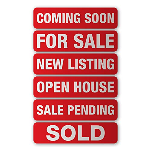 Real Estate Sign Riders Set of 6 Aluminum Metal Printed Signs With Different Messages For Real Estate. 6' x 24'