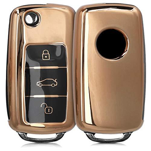 kwmobile Autoschlüssel Hülle kompatibel mit VW Skoda Seat 3-Tasten Autoschlüssel - TPU Schutzhülle Schlüsselhülle Cover in Hochglanz Gold