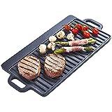 YFGQBCP Moldeada Antiadherente Hierro Plancha Reversible Pan Placa 50 x 23 cm for la inducción, Gas y eléctrica Cocina