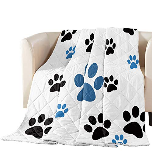 "Quilted Throw Blanket- Cartoon Pet Paw Print Patchwork Bed Cover Quilt for Couch Sofa| Lightweight, Warm, Cotton Alternative Filling (98"" x 116"")"