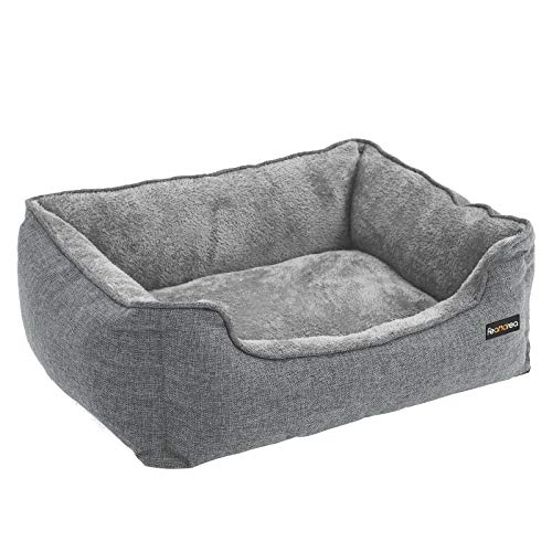 FEANDREA XXL Washable Dog Bed, Removable Cover, Cuddly Dog Sofa, Grey PGW12GG