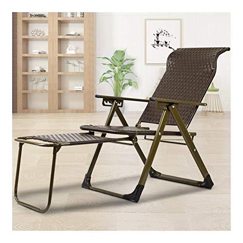 Las sillas reclinables jardín Brown sillas de mimbre Silla plegable reclinable rota En Patio de mal tiempo for la playa, Balcón, Parque O 3 Ajuste de la posición del camping c314 ( Color : Park 1 )