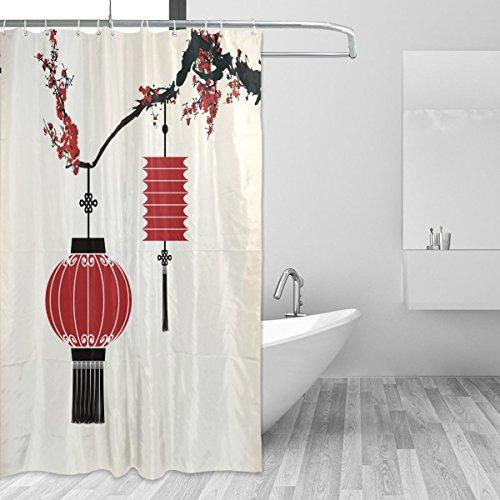 Duschvorhänge Schimmelresistent Wasserdicht Form Vintage Cherry Laterne bedruckt waschbar Polyester Bad Vorhang mit stabiler Haken für Badezimmer Home Dekoration Zubehör 167,6x 182,9cm