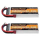Youme Power 2 Packs 11.1v Lipo Batterie 5200mAh, 3S Lipo Batterie 50C avec Prise Deans T pour Voiture / Camion, Bateau, Drone, Buggy, truggy, hélicoptère RC, Avion RC, UAV, FPV (Court)