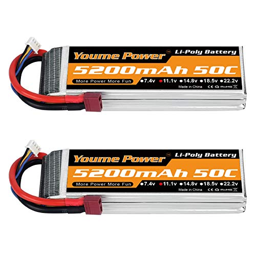 Youme Power 2 Paquetes 11.1v Lipo Batería 5200mAh, 3S Lipo Batería 50C con Deans T Plug para RC Coche / Camión, Barco, Drone, Buggy, Truggy, RC Helicopter, RC Avión, UAV, FPV (Corto)